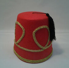 Deluxe Red Fez Hat  Moroccan Aladdin Shriner  Dr. Who Teen to Adult Size