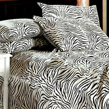 Satin Sheet Set KING Size Zebra Print Silk Feel Animal Safari Smooth & Silky New
