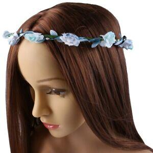 FLOWER GIRL ROSE FLORAL HEADDRESS Hair Band Blue Turquoise Leaf Bridal Garland