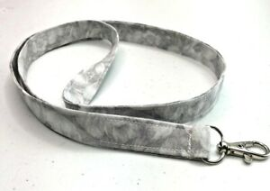 Gray Grey White Floral Neutral Color Cotton Fabric Lanyard ID Badge Key Holder