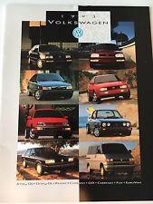 1993 Volkswagen VW Full Line Color Brochure Jetta Passat GTI Fox EuroVan Golf