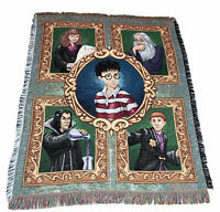 """Vintage Harry Potter Characters Woven Afghan Throw Sofa Blanket Fringe 59"""" x 49"""""""