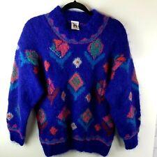 Icelandic Design Handknit Mohair Wool Blend Crew Neck Sweater Women's Sz. S/M