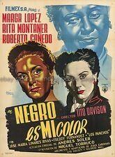 Negro es mi color Marga Lopez 1951 Mexican one-sheet movie poster Josep Reneau