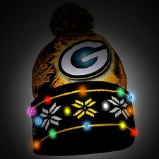Green Bay Packers Big Logo Light Up Printed Beanie Winter Hat Toque Cuffed Pom