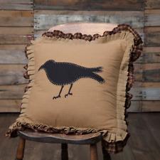 Primitive Crow Appliqued Black Felt Crow on Mustard Base Ruffled Pillow 18x18