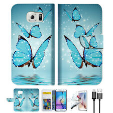 Cyan Butterfly Wallet Case Cover For Samsung Galaxy S7 Edge-- A019