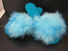 VINTAGE RETRO TURQUOISE OPEN TOE FLUFFY FUR MULE SLIPPERS MADE ENGLAND size 6-7