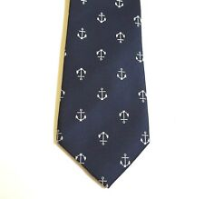 Haines & Bonner of London Tie Anchors Navy Necktie Nautical Ocean Hand Made NEW