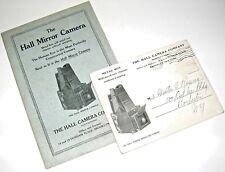 Ca.1909 16 pg.The Hall Mirror Camera Illustrated & Priced  CATALOG w/BIGPOSTCARD