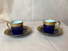 2 Cobalt Blue & Gold Limoges Garanti Veritable D'art Demitasse Teacup & Saucer