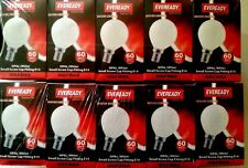 10 X EVEREADY 60w Golfball Opal (white) Ses E14 Small Screw Round Rough Service