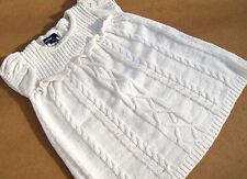 NEW BABY GAP PEARL WHITE BRAIDED KNIT DRESS Size 6-12 mos.