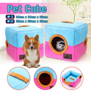 Pet Dog Cat Bed House Portable Kennel Doggy Cube Cave Cushion Pad Polyester Mat