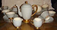 Beautiful Vintage Flintridge China Sylvan-gray coffeepot with cup & saucers set