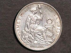 PERU 1914 1 Sol Silver Crown AU-Unc