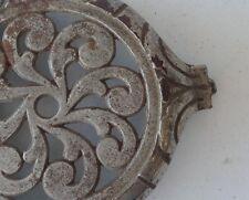 Antique Stove Cover chromed Iron burner ornate vintage trivet hearth part DNARG