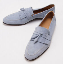 New $950 SUTOR MANTELLASSI Sky Blue Calf Suede Tassel Loafers US 10.5 Shoes