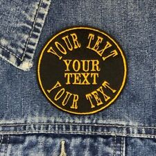 ARCHED TEXT CIRCLE CUSTOM PERSONALISED BIKER PATCH SEW ON EMBROIDERED FELT PATCH