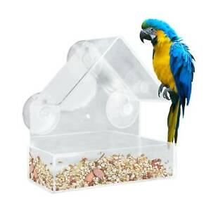 Window Bird Feeder Wild Table Hanging Suction Plastic Clear Viewing Seed Nut