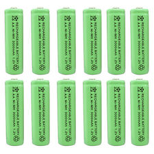 12 pcs AA 3000mAh Ni-MH 1.2V Rechargeable Battery Green For Toy RC Solar Light