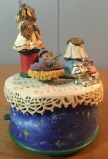Vintage Enesco Nativity Christmas Motion Music Box Mini Mice Spinning