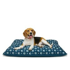 """Dog Pillow Large Peaceful Bed, 27"""" x 36"""", Blue Paw Print, Machine Washable"""