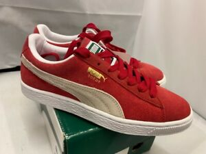 Womens Boys PUMA CLASSICS Red Suede Lace Up Shoes Trainers Pumps Size UK 6.5 40