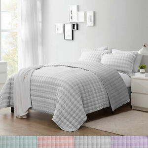 Sweet Home Collection Embroidered Checkered Quilt and Pillow Sham Set