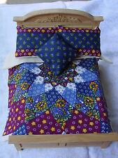 Miniature Dollhouse Bedspread Comforter 3 Pillows 1:12 scale  Dahlia Navy*
