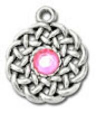 stone and Adjustable Black Cord Pewter Celtic Knot Pendant with Ab
