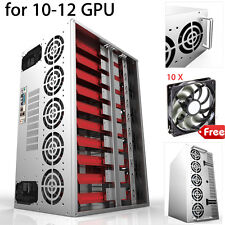 10-12 GPU ETH BTC Crypto Coin Open Air Mining Frame Rig Graphics Case + 10 Fans