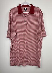 Footjoy FJ Men's XL Red White Striped Performance Golf Polo Shirt Club Logo EUC