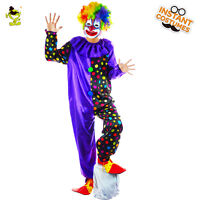 Adult Funny Circus Clown Costume Halloween Costumes Naughty Harlequin Uniform