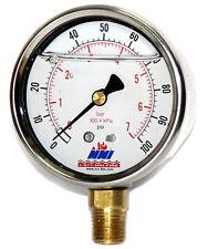 "100 Psi 7 Bar Industrial Stainless Pressure Gauge 2-1/2"" Dial 1/4"" lower"