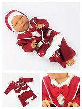 Neu! Babyset 3-tlg Taufanzug Erstausstattung Baby Set Jungen Fliege Rot Gr. 62
