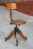 Antique 1897 Oak Drafting Stool Chair Architect Office drafting table adjustable