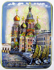 Lacquer box Fedoskino Cathedral of the Resurrection on the Blood Hand Painted 15