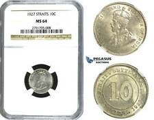 N65, Straits Settlements, George V, 10 Cents 1927, Silver, NGC MS64