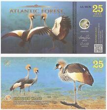 FORESTA ATLANTICA 25 AVES DOLLARI 2016 nuova fantasia BANCONOTA-Gru coronata Bird