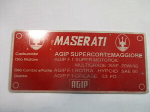 Maserati Shield Mexico Merak Mistral Sebring 3500 Bora Nameplate Oil B-Ware