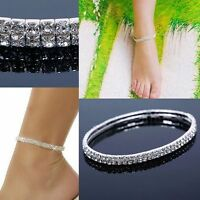 6Pcs 2Rows Bridal Sexy Sparkly Rhinestone Crystal Stretch Anklet Ankle Chain