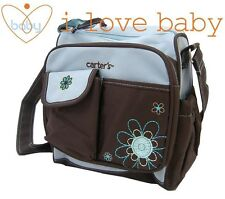 Small Flower Baby Diaper Nappy Changing Bag Blue Mummy Outdoor Should Tote