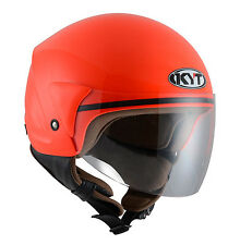 CASCO scooter DEMI JET KYT by Suomy mod COUGAR taglia M (57-58 cm) rosso fluo