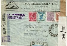 BRAZIL WW II censored cover to NYC in 1943 - attractive 4 color franking