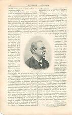 Portrait de Antonio Canovas del Castillo Député Espagne GRAVURE OLD PRINT 1897