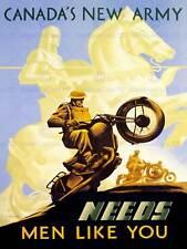 Guerra reclutano conquistare Pubblicità Canada ESERCITO Cavaliere MOTO art print poster bb7771b