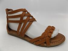 8ae6fcde30700 OLLIO Women s COGNAC Strappy Ankle Strap Zip Up Flip Flop Sandals SZ 6.5 M  7440