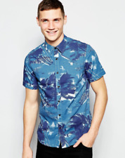 Bnwt G Star Raw Shattor SS Shirt In Stormy Hawaiian Blue - UK XXL (B69)