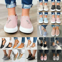 Women Canvas Zip Up Slip On Casual Flat Sneakers Trainers Loafers Outdoor Shoes